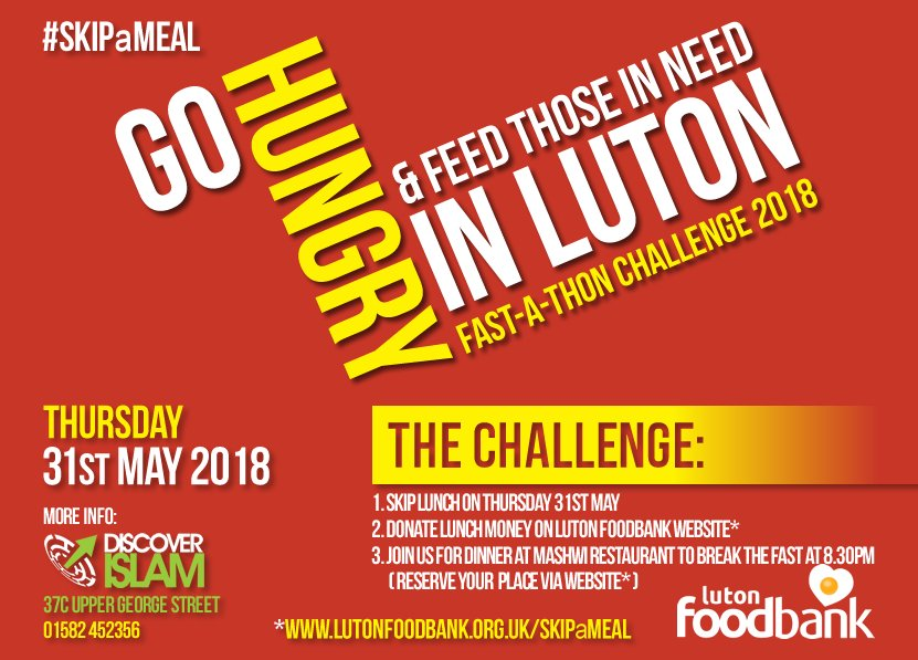 Luton Foodbank On Twitter Why Not Skipameal On Thursday