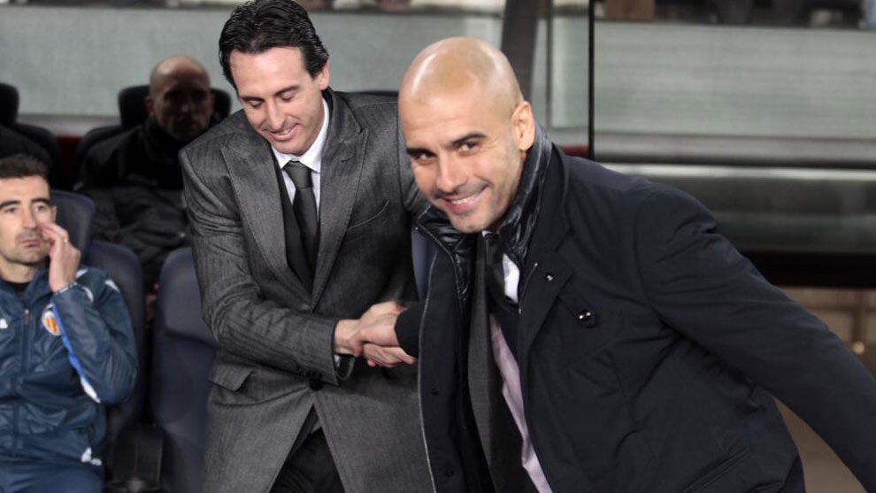 Image result for Pep Guardiola with Emery