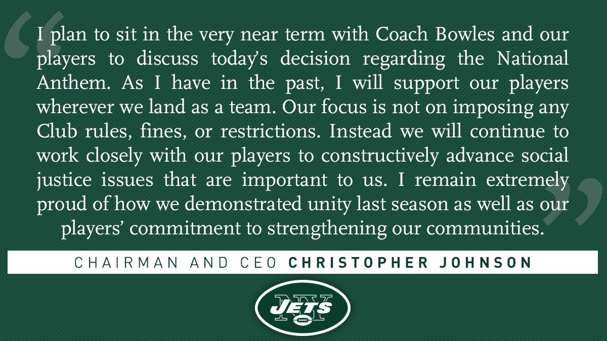Statement from Chairman and CEO Christopher Johnson