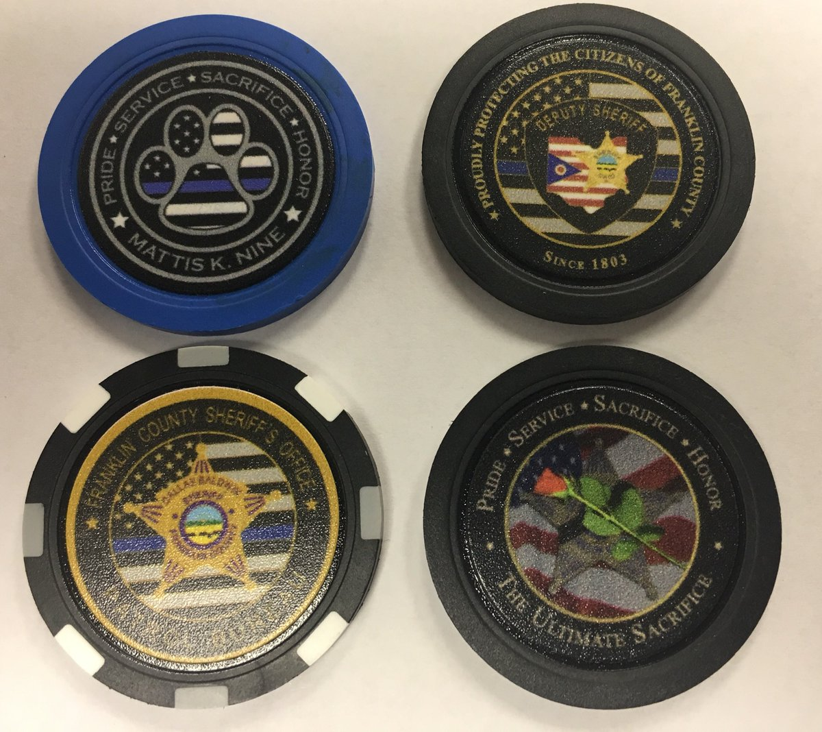 CHALLENGE COIN GIVEAWAY WEDNESDAY! Who wants a chance at winning?? Such a hit last week WE are doing it 2nd week in a row, here are 4 Poker Chips from our office! We are looking for new followers, so after 125 Retweets we will randomly pick a winner for the the chips. Good Luck! <br>http://pic.twitter.com/wN1wnWeEyP