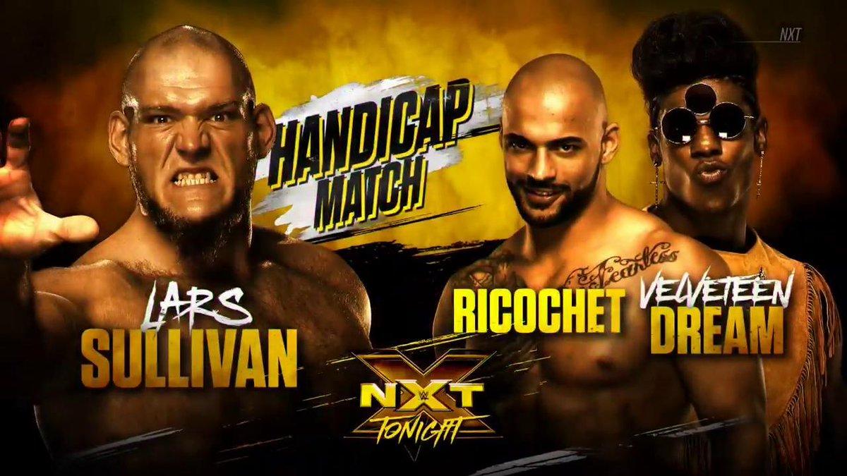 TONIGHT: @LarsSWWE battles @KingRicochet & @VelveteenWWE in a colossal #HandicapMatch on #WWENXT, only on @WWENetwork!