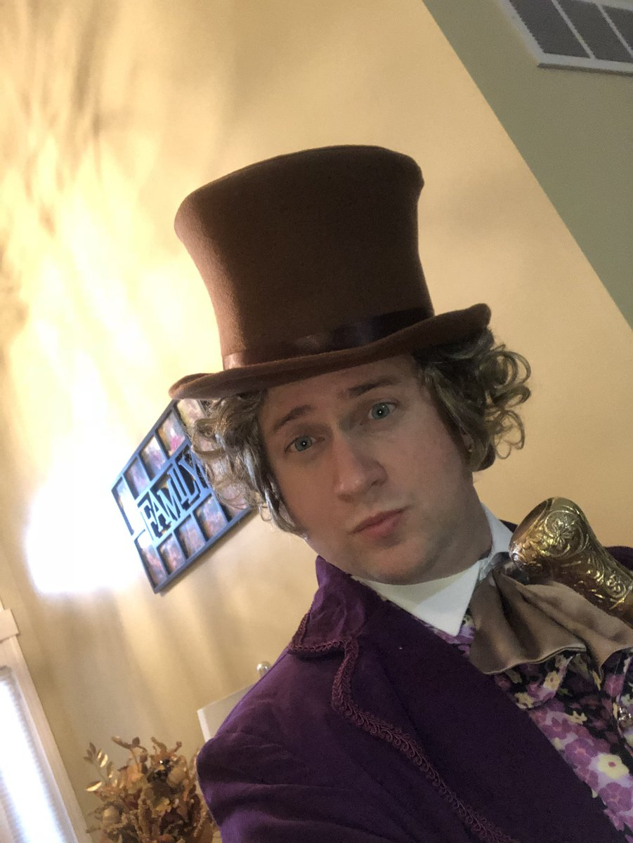 Rob Reynolds dressed as Willy Wonka for Halloween