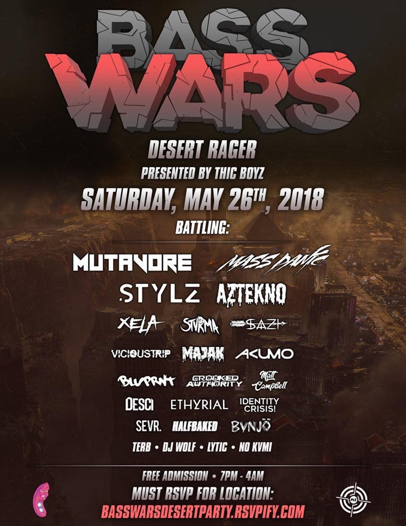 Desert rager this Saturday 5/26 with a bunch of the local homies going b2b!!!!  Free Entry!  Full Production!   RSVP here for location:  https:// basswarsdesertparty.app.rsvpify.com / &nbsp;  <br>http://pic.twitter.com/EEGQKyZcKu