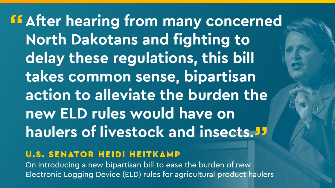 After hearing from NDans concerned w/ new Electronic Logging Device rules, I intro'd a bipartisan bill to ease the burdens the new ELD rules would have on agricultural product haulers, who often need flexibility. I'll keep working w/ @USDOT for common sense regs for rural America