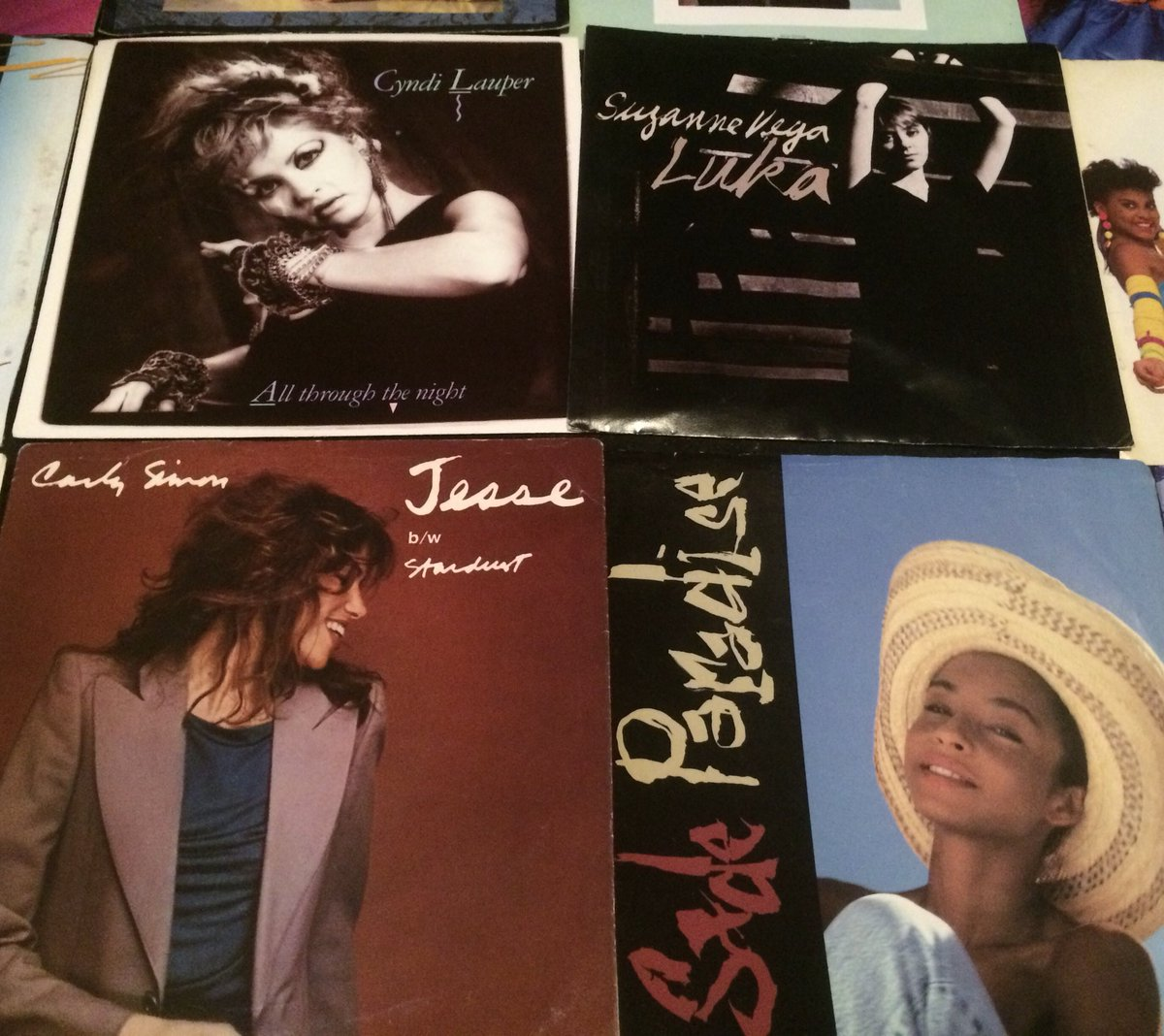 "80's RECORDS of the Day:    Suzanne Vega ""Luka"" (1987) Sade ""Paradise"" (1988) Carly Simon ""Jesse"" (1980) Cyndi Lauper All Through the Night"" (1984)  #CyndiLauper #Sade #CarlySimon #Suzannevega #Music #Records #Record #Vinyl #Pop #Rock #Dance #Freestyle #Hiphop #80s #80sThen80sNow<br>http://pic.twitter.com/sdOG0i9UMQ"