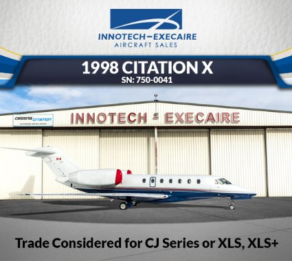 Innotech-Execaire presents 1998 #CitationX for sale - trade considered for CJ Series or XLS, XLS+ 8 pax configuration w/double-club seating - Engines on RRCC - RVSM Capable View full specs at  http:// ow.ly/j2HP30k9qt2  &nbsp;    #bizjet #bizav #aircraftforsale #privateaviation #privatejet<br>http://pic.twitter.com/QaAK0wTvEV