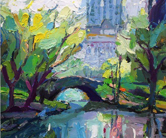 """Well it turns out that #NY #CentralPark has over 30 #bridges, including this one, #Gapstow Bridge. There is even one called Claremont Arch! Clearly I will have to return to paint them all  """"Gapstow Bridge"""", 35X45cm, oil on board . Available. #gallery #abstractexpressionist<br>http://pic.twitter.com/GiGYbnrUEN"""