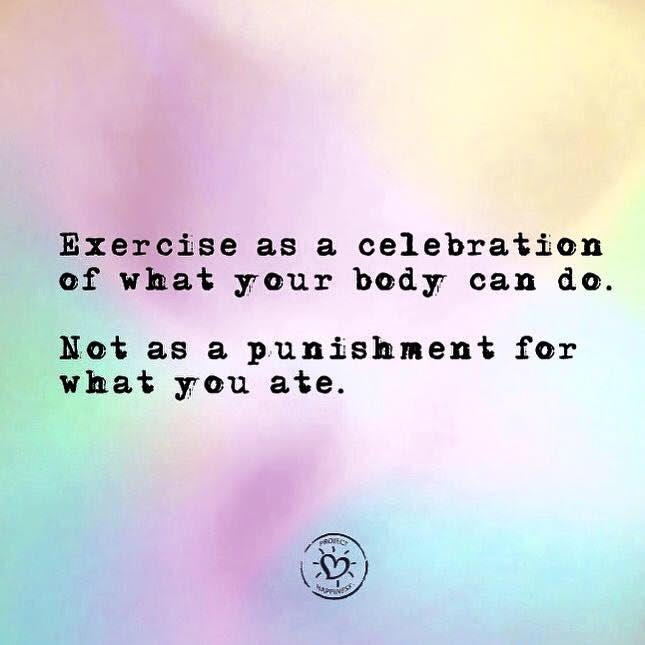 Exercise as a celebration of what your body can do. Not as a punishment for what you ate.  Celebrate this powerful message today as we exercise! #WellnessWednesday #ProjectHappiness #WednesdayWisdom<br>http://pic.twitter.com/wWzude4u6n