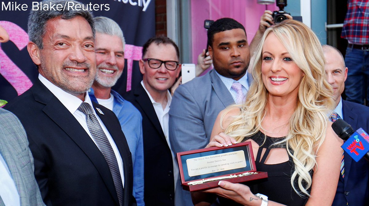 """City of West Hollywood proclaims today """"Stormy Daniels Day,' applauding the adult film star for 'speaking truth to power' in her legal challenges to Pres. Trump. https://t.co/ULXtZkOtWs"""