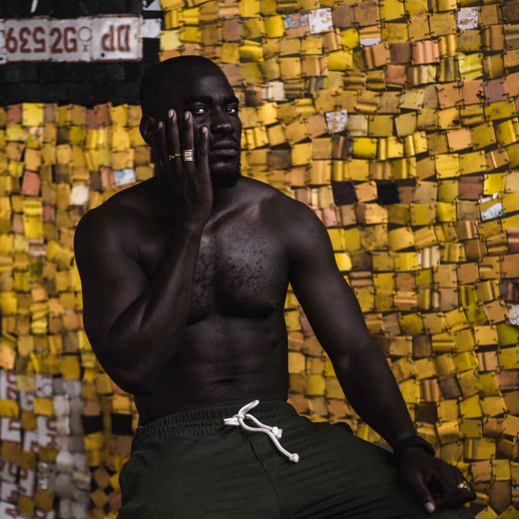 Portrait of Artist : Serge Attukwei Clottey at his Accra studio in Ghana  <br>http://pic.twitter.com/6iMbN2uEYV