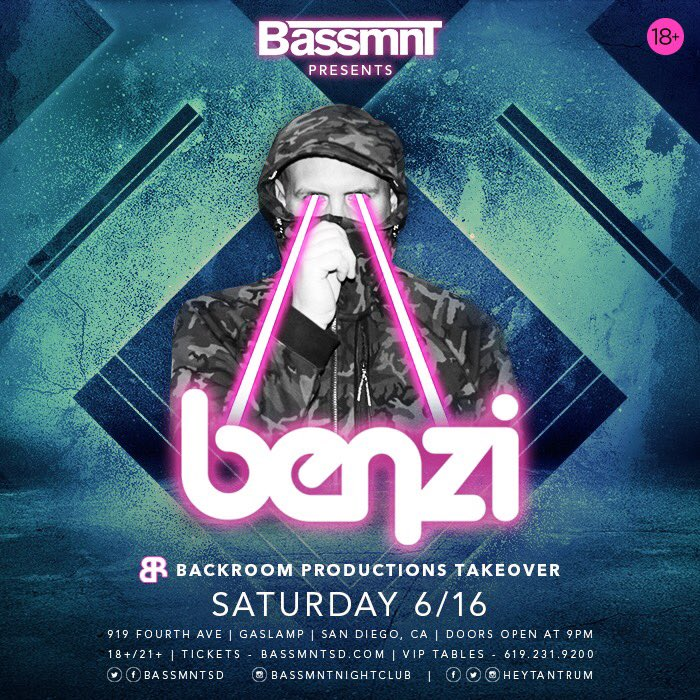 Announcement: - The Backroom Official squad is taking over @BassmntSD with @Benzi on 6/16 and we have the entire lineup! Catch special b2b sets all night long leading up to the main man himself  - Oh and we are throwing a pool party the day of so get at us for rsvp ASAP  <br>http://pic.twitter.com/33o0wKpnkU