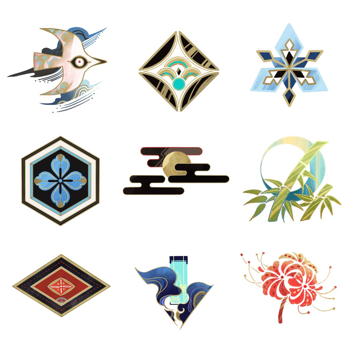 #illustrationart #design #icon #陰陽師 icon design for the game Onmyoji ~each one represents a different demon