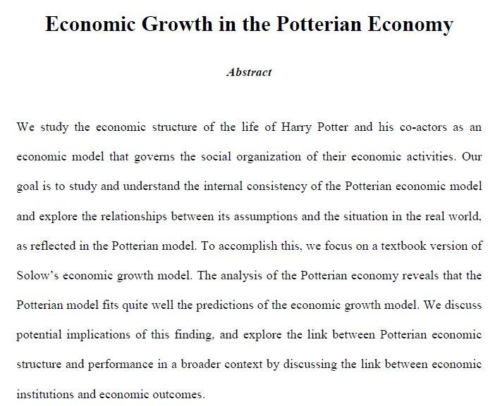 La nouvelle du jour (enfin, pour moi), c'est que le modèle de Solow est une représentation pertinente du monde de Harry Potter. https://t.co/L2kSZCQ1os