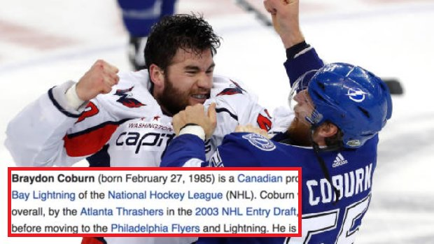 Bardown On Twitter Braydon Coburn S Wikipedia Page Received A Ruthless Edit After One Sided Fight With Tom Wilson More Https T Co Yujq92bjr6 Https T Co Wcahslopwa