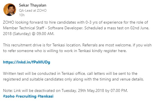 K Rajesh On Twitter Zoho To Hire Candidates With 0 3 Yrs Of Exp