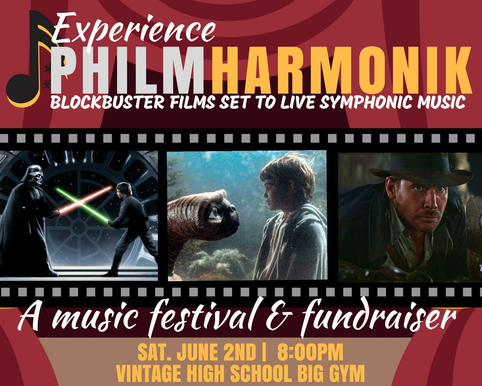 Come see Vintage Instrumental Music and Choir perform together at the first PhilmHarmonik, Sat. 6/2 at 8PM in the Vintage Gym. Help raise $ for Teen Suicide Prevention. @vhs_orchestra @VHS_Crushers @vhspfcc @VHS_Leadership<br>http://pic.twitter.com/ngv02L2IDT
