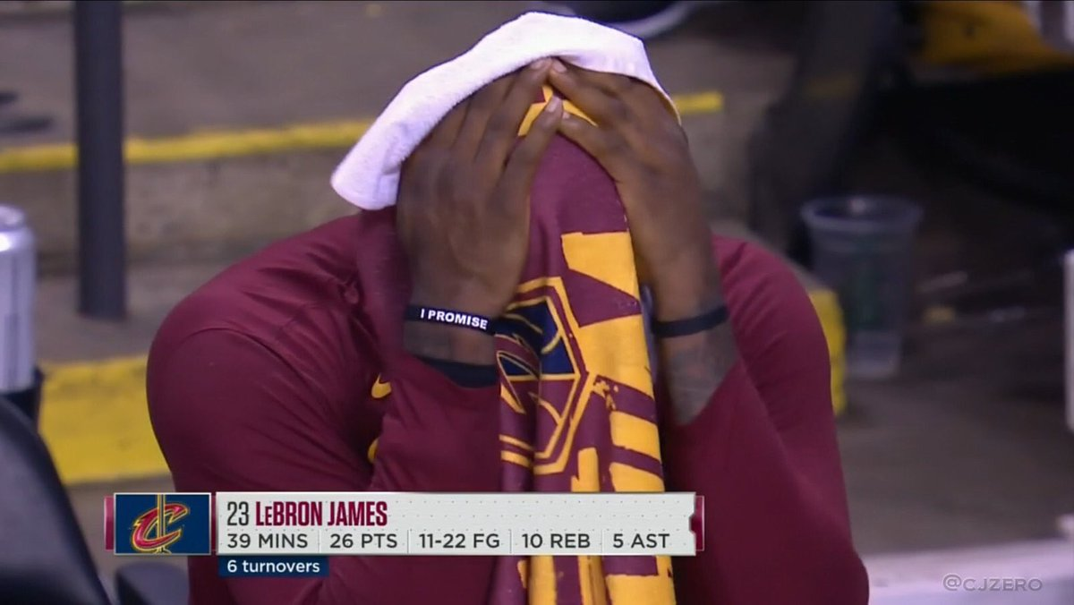 """Someone gotta photoshop """"I'm leaving"""" on Bron's other wristband Lmaoo <br>http://pic.twitter.com/OcxX60Vax9"""