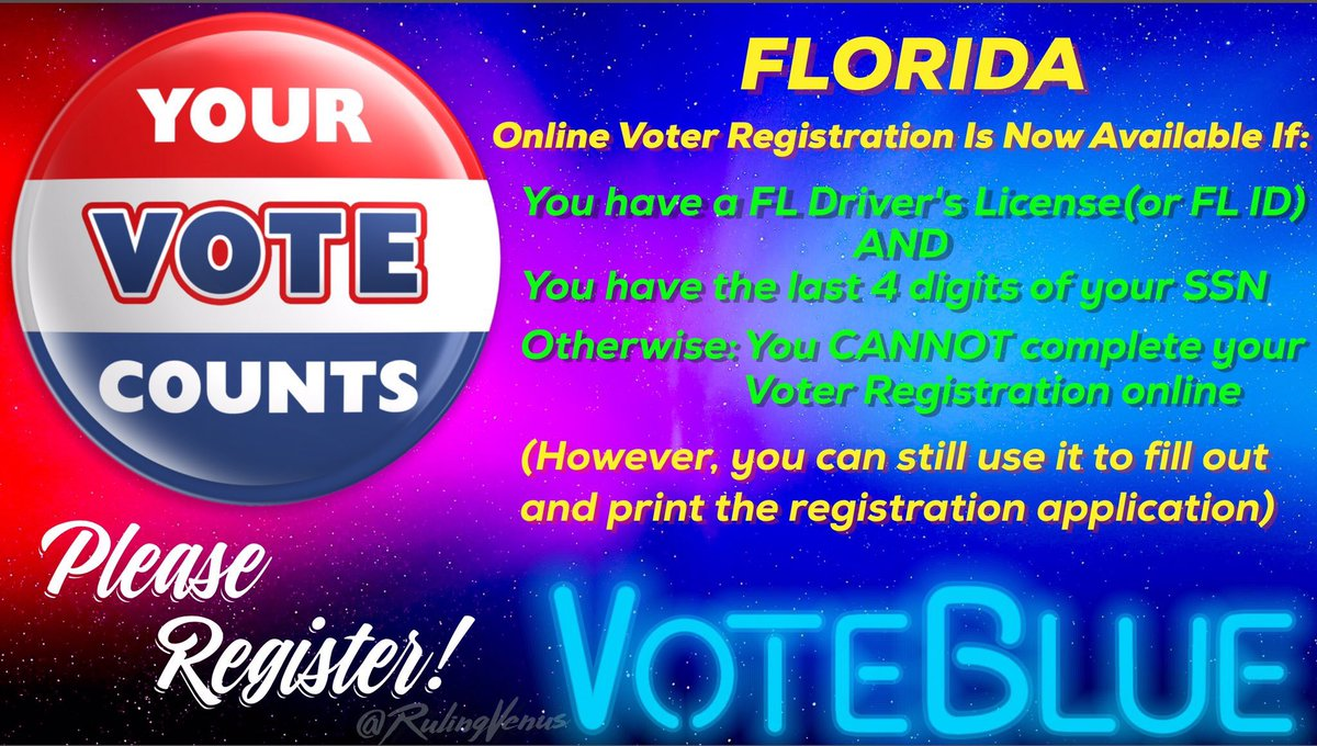 Citizens who have relocated to #Florida from #PuertoRico   Don&#39;t assume you can #RegisterToVote online  If you wait until the deadline (7/30 Primary, 10/9 General) &amp; don&#39;t have the required info, you may miss the chance to register another way, so check  #TheResistance #GOTV<br>http://pic.twitter.com/4lr2yLvMMV