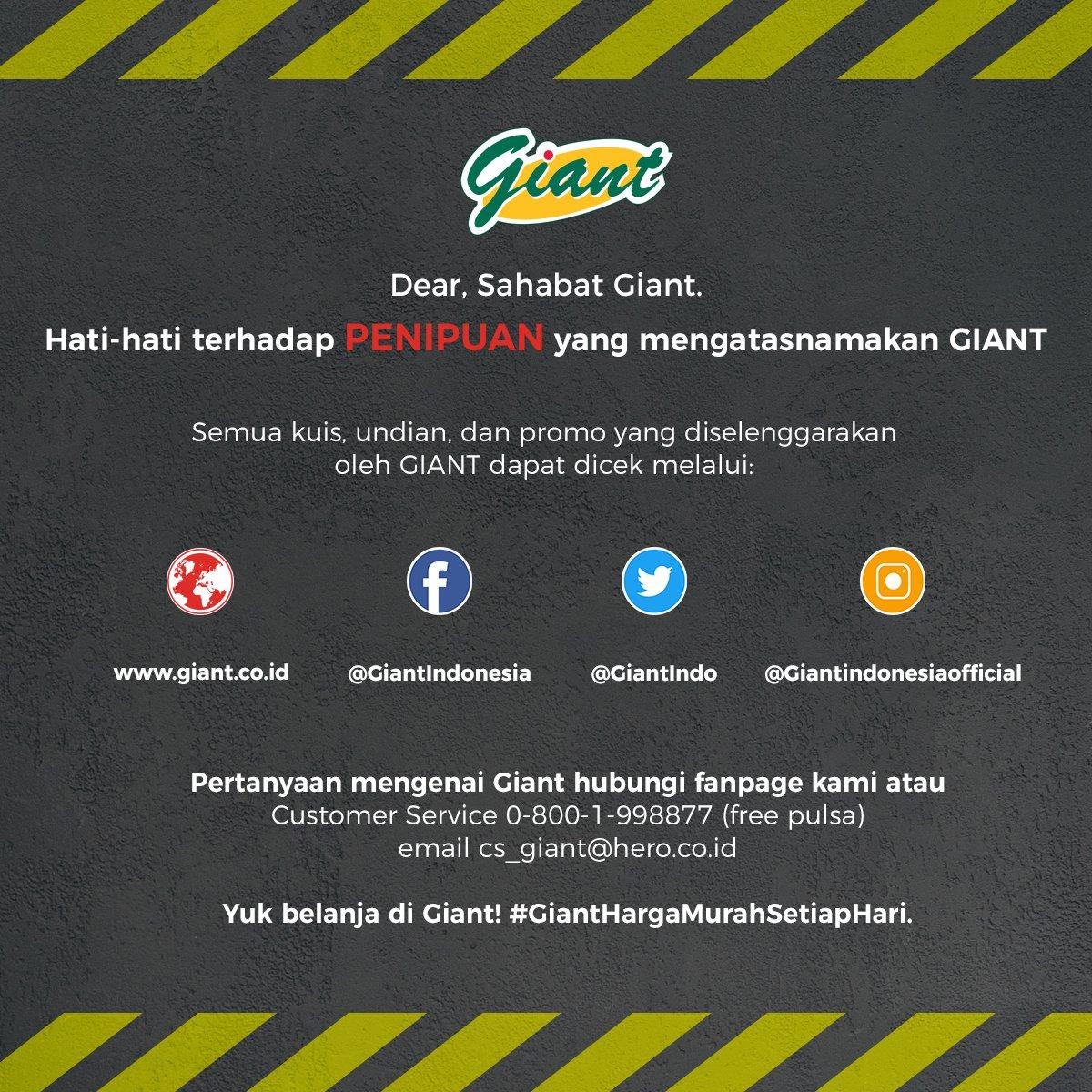 Dear, Sahabat Giant.  Hati-hati terhadap penipuan yang mengatasnamakan GIANT.  Semua kuis, undian, dan promo yang diselenggarakan oleh GIANT dapat dicek melalu fanpage Giant atau klik http://www.giant.co.id  #GiantHargaMurahSetiapHari