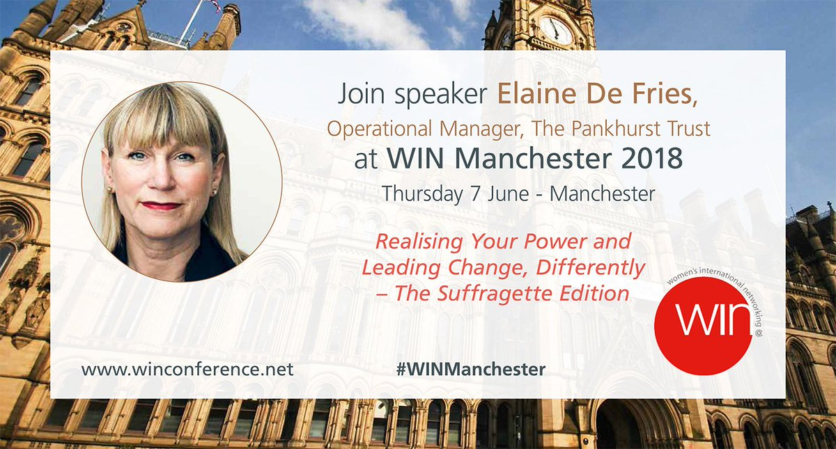 Elaine De Fries, Operational Manager,  The Pankhurst Trust, will be speaking at #WINManchester! Sign up now at  http:// bit.ly/WINMAN  &nbsp;   @PankhurstCentre  @CMBoggiano  #womeninleadership #suffragette #genderequity<br>http://pic.twitter.com/EVQAgEV2or