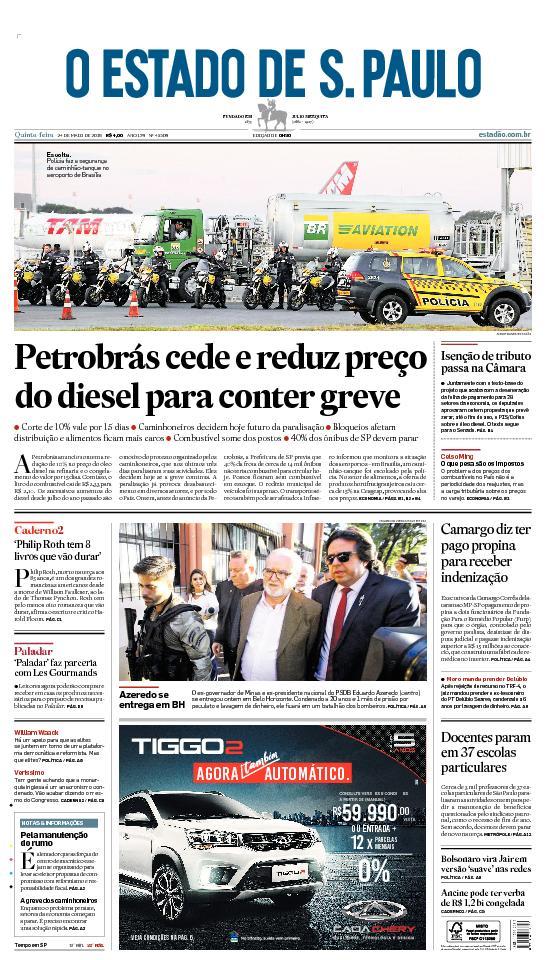 CAPA: Petrobrás cede e reduz preço do diesel para conter greve. Veja mais: https://t.co/aTHg0xhkBp  #estadao