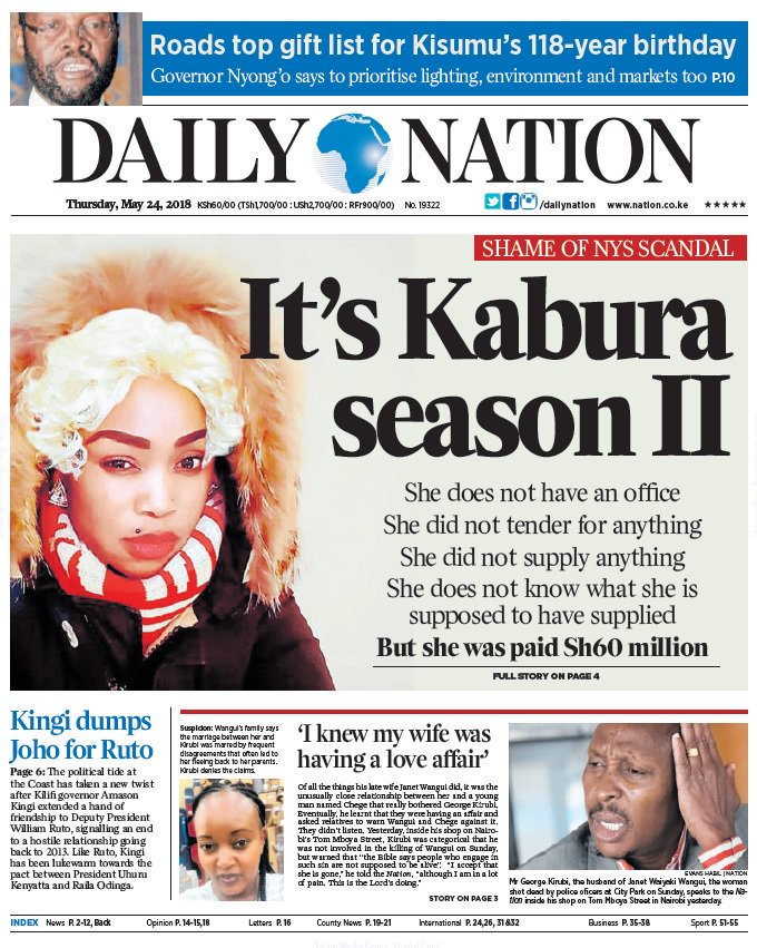 Media always our worst enemy! In first episode of NYS refuge of plunder, they used Kabura as a parenthesis to keep our eyes off the real graft lords! Today they are on this young beautiful lady who only got 60 million from the 10 billion. FOCUS! @Asamoh_ @C_NyaKundiH<br>http://pic.twitter.com/pOnseStVFo