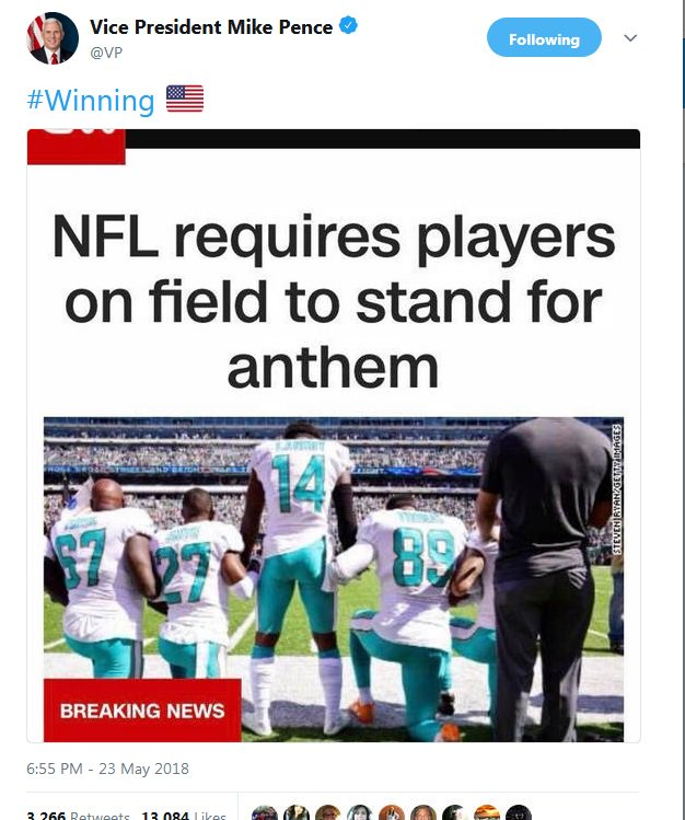 In a sport where 70% of players are black, the NFL shows they do not care about the people that make the sport possible  By appeasing Trump they&#39;ve sided with a racist, over ppl who are protesting racism and police brutality  Anyone celebrating the decision is against free speech<br>http://pic.twitter.com/xoG2tJHHKJ