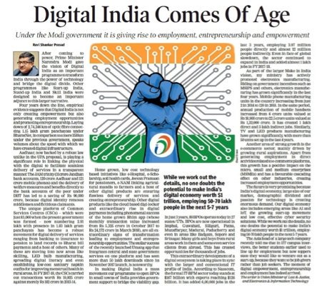 #DigitalIndia has led to spread of technology driven development, created jobs and brought about greater inclusion and empowerment in last four years. Despite global challenges Indian IT companies have registered record revenues and exports.   https:// blogs.timesofindia.indiatimes.com/toi-edit-page/ digital-india-comes-of-age-under-the-modi-government-it-is-giving-rise-to-employment-entrepreneurship-and-empowerment/ &nbsp; … <br>http://pic.twitter.com/Uc9sksRIVO