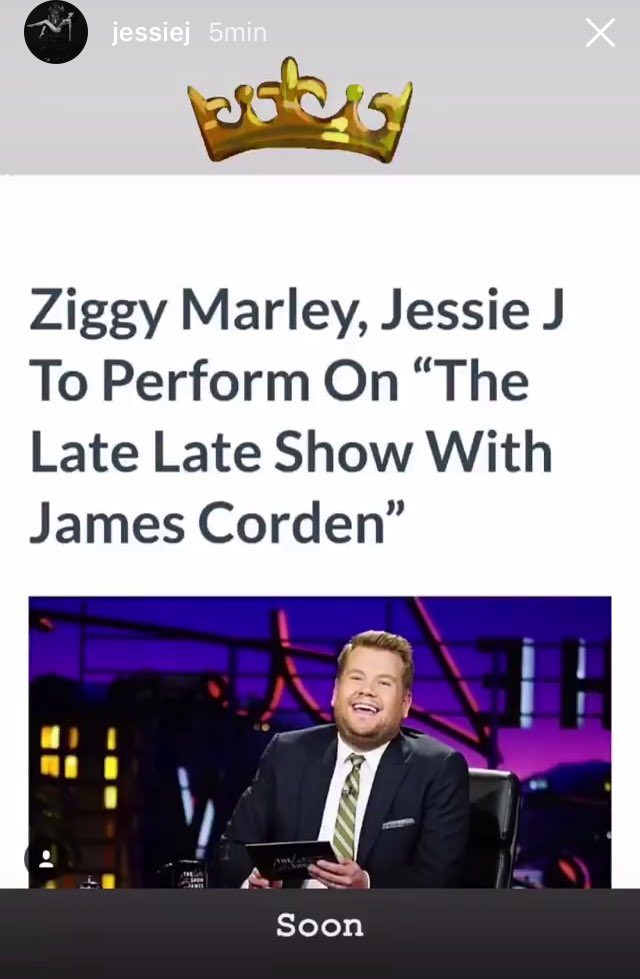 Oh and tomorrow after many years of waiting... our girl will be for the first time in @latelateshow ! Hoping that she could do a @CarpoolKaraoke with @JKCorden  #ROSE #LateLateShow @JessieJ<br>http://pic.twitter.com/jtEcoCRqXS