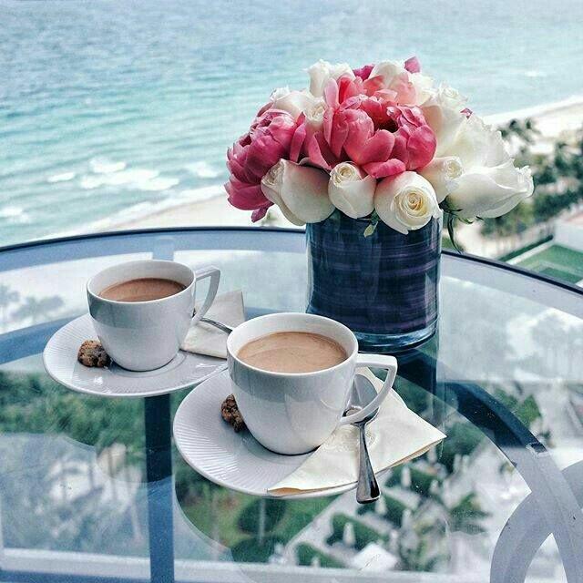 Открытки с добрым утром море и кофе
