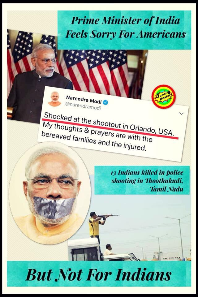 """Indian PM Modi shocked when he heard about Orlando shootout in USA. But he has no time to feel """"Shock"""" for indians. <br>http://pic.twitter.com/SVqDwGju9r"""