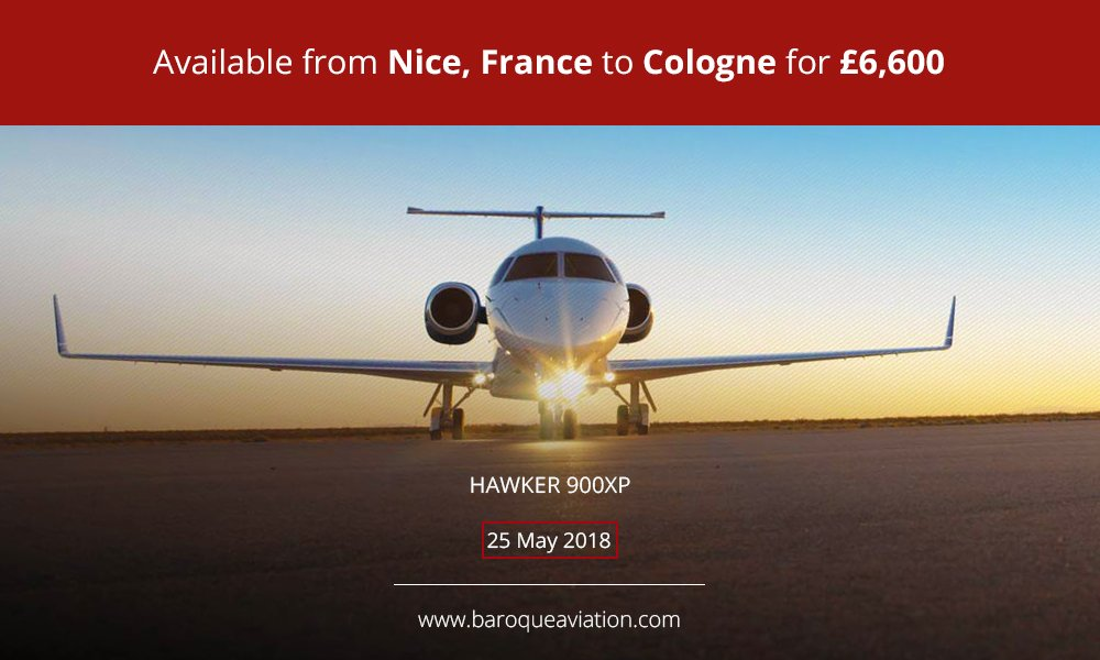 Empty leg from  #Nice, #France to #Cologne, #Germany on 25 May #flying in a #Hawker900XP   Request a charter:  http:// ow.ly/riHf30csd9M  &nbsp;   #privatejet #bizjet #emptyleg<br>http://pic.twitter.com/Ji3fbOH6kz