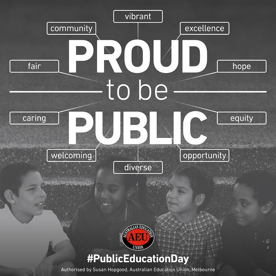 On this Public Education Day, I want to say I am proud to be public! Equity, acceptance of all regardless of background, religion, economic status, ability and social inclusion are the values we model, teach and uphold for the future citizens of Aust. We deserve @FairFundingNow<br>http://pic.twitter.com/c9b51LpI2U