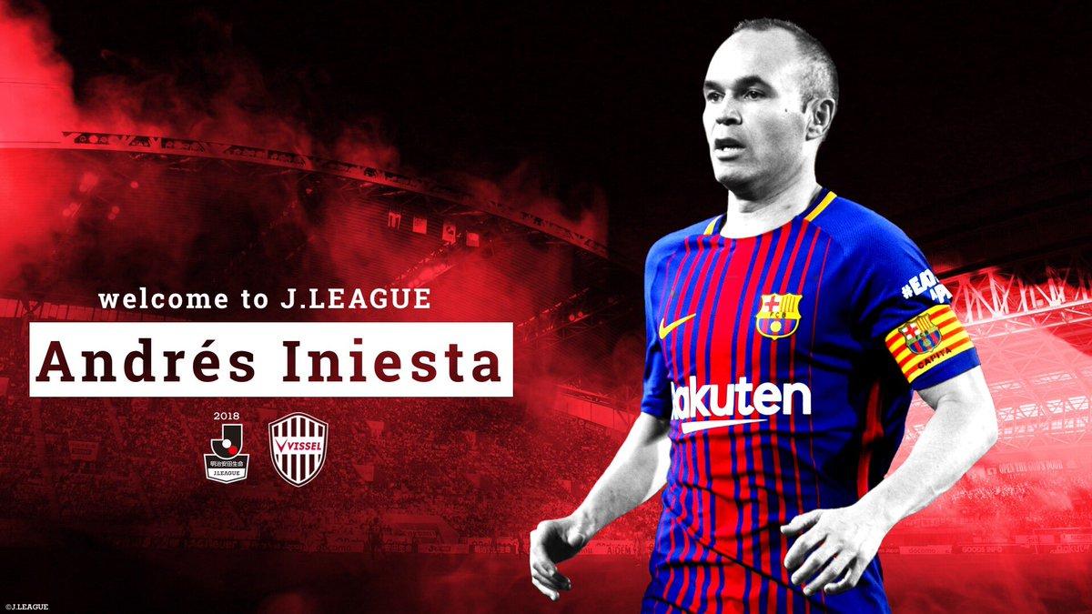 Welcome to J.LEAGUE 🇯🇵  @andresiniesta8 on joining @vissel_kobe 🇪🇸➡︎🇯🇵  #イニエスタ 選手がFCバルセロナ @FCBarcelona から #ヴィッセル神戸 へ移籍決定!  @LaLiga  #Jリーグ #jleague