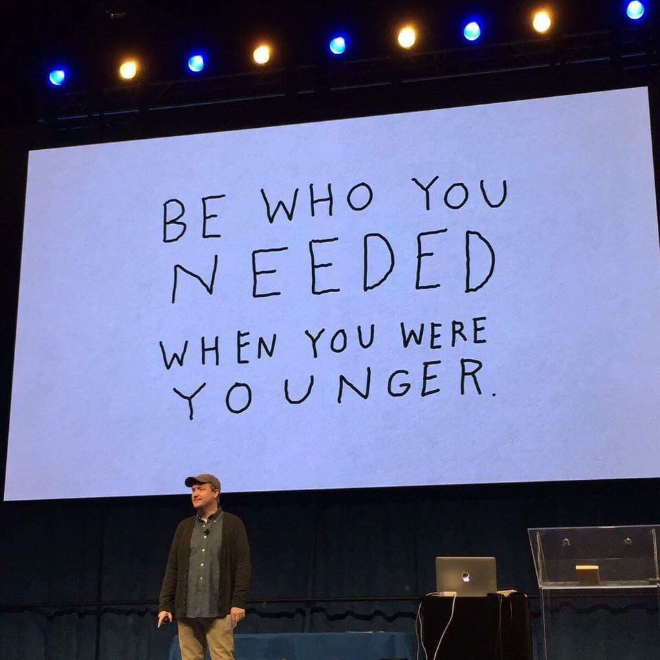 @thebradmontague Seen your 'Be who you needed..' graphic on FB - powerful message right there!