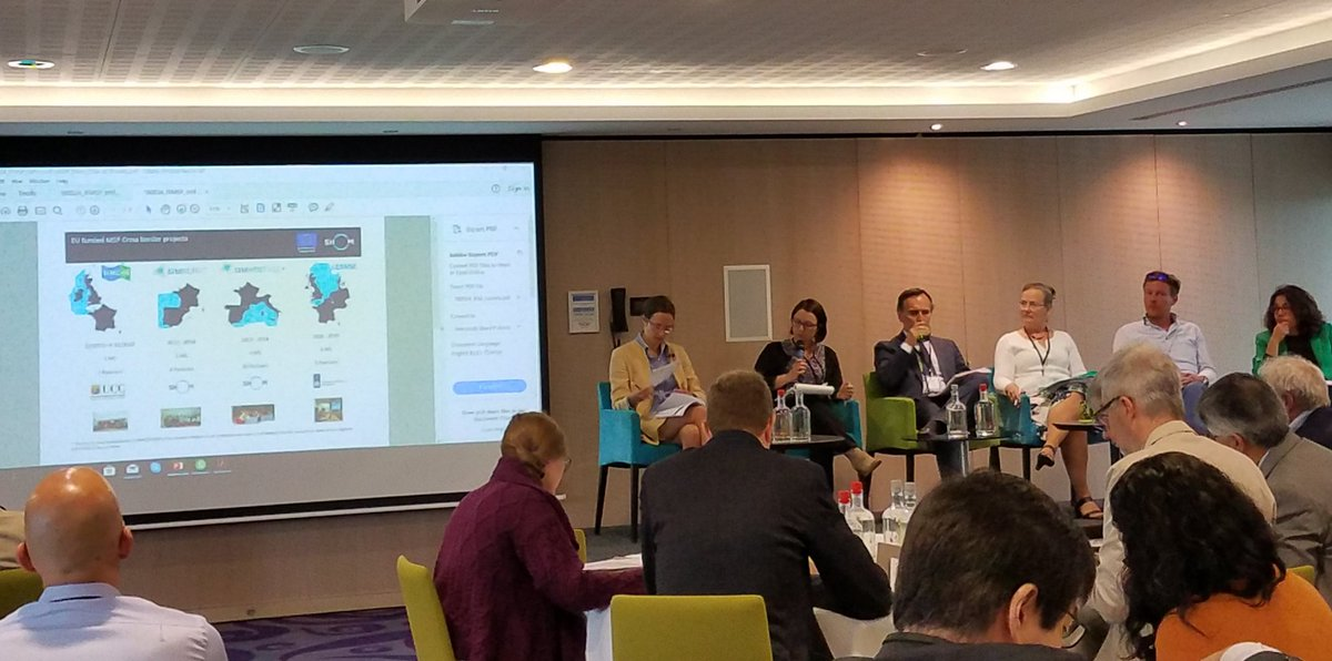 Learning about EU cross-border #MSP projects experiences and challenges @SIMCelt #SIMNORAT #SIMWESTMED #SEANSE #SUPREME #Adriplan #PanBalticScope and more during first panel #MSPglobal<br>http://pic.twitter.com/cjNzbFiW1z