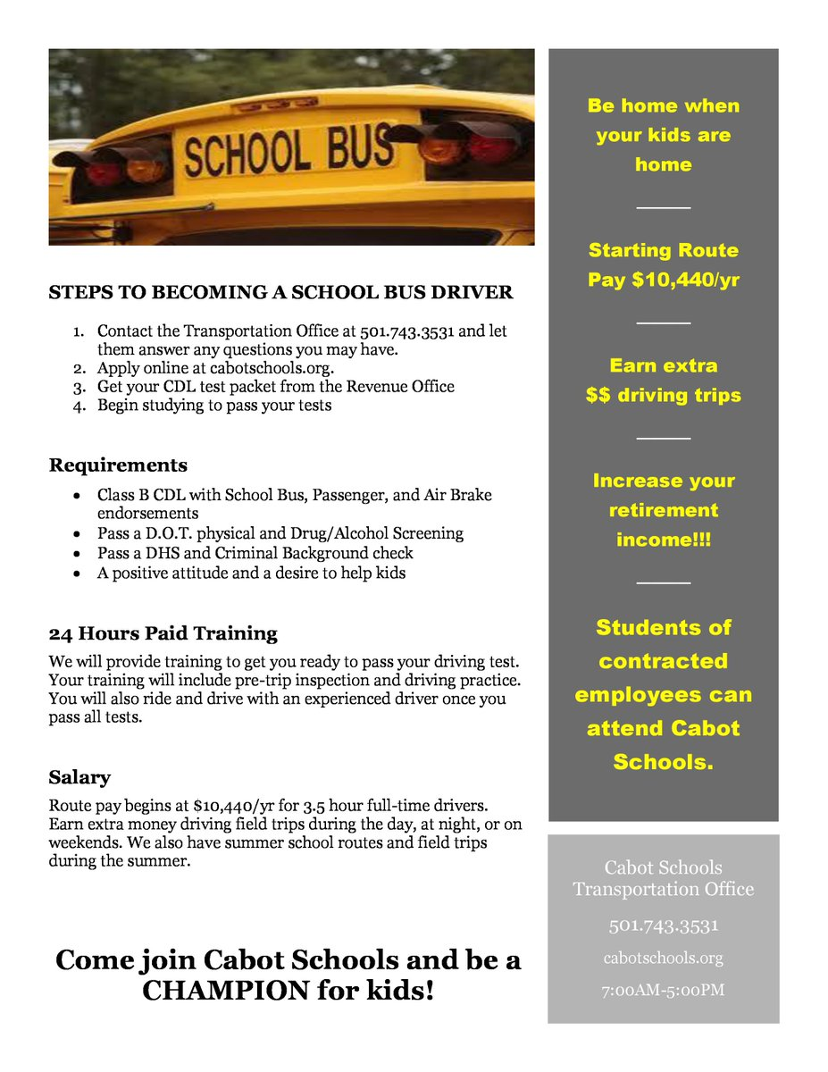 The Cabot School District is recruiting school bus drivers. Starting route pays nearly $10,500 a year, be home when your kids are, paid training, ...