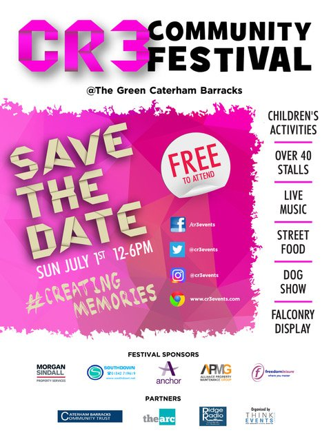 Our first CR3 Community Festival is fast approaching. The festival aims to bring together local groups, organisations, clubs and individuals to celebrate community spirit and support those local people that make Caterham a fantastic place. #CR3 #CATERHAM #CreatingMemories #Free<br>http://pic.twitter.com/4lJEdFHvUz