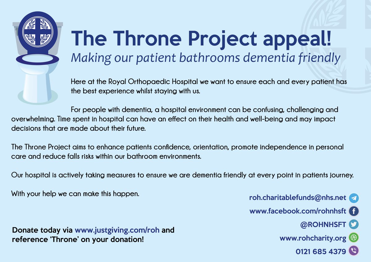 Today we have been raising money for our Throne Project charity appeal to make our bathrooms more Dementia friendly. We have had a raffle and a book sale taking place! #DAW2018 You can donate here to our appeal via  http://www. justgiving.com/roh  &nbsp;  <br>http://pic.twitter.com/Qlt7vyKymj