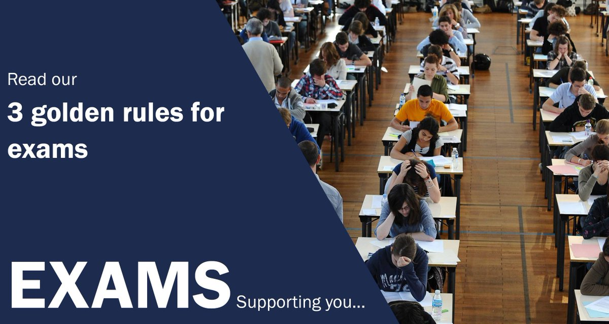 Golden rules for exams:  Be prepared   Answer the question you&#39;re given, not the one you wish you were given    Manage your time wisely  More in the blog   https:// buff.ly/2x5eTuH  &nbsp;  <br>http://pic.twitter.com/aRN4ddeBnS
