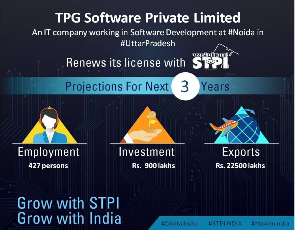 Congratulations M/s TPG Software Private Limited for renewal of license !  #GrowWithSTPI #DigitalIndia #STPIINDIA @rsprasad @SSAhluwaliaMP<br>http://pic.twitter.com/62G8b4ZKnW