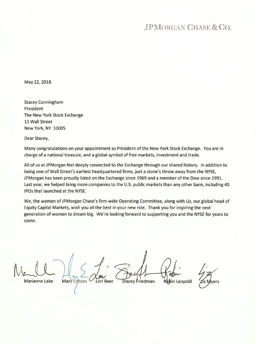 I'm humbled to receive this letter from Marianne, Mary, Lori, Stacey, Robin, and Liz - some of the fearless women at @jpmorgan - along with so many other well wishes from women &amp; men, girls &amp; boys, from near &amp; far<br>http://pic.twitter.com/1ksj9o0jgV