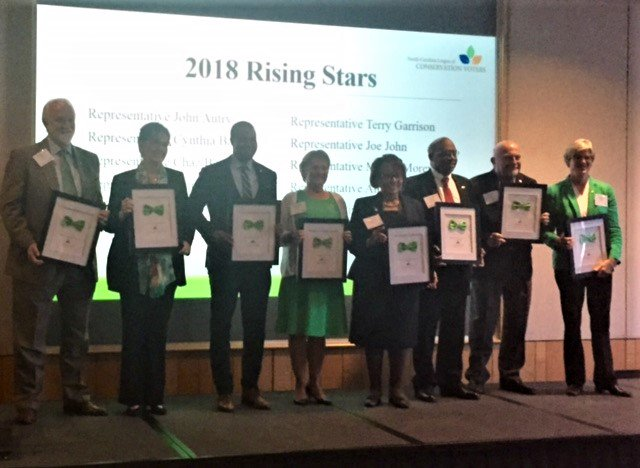 Record setting @nclcv #greentie 2018 Rising Stars. Legislator of the Year @DebButlerHD18! Proud to be in #ncga #GreenCaucus w/ @AutryJohn @BelkRep @ChazBeasley @JoeJohnNC40 @RepMaryAnnBlack @marciahmorey @GoNCRichardson Amos Quick Terry Garrison<br>http://pic.twitter.com/NtfXFNPfaS