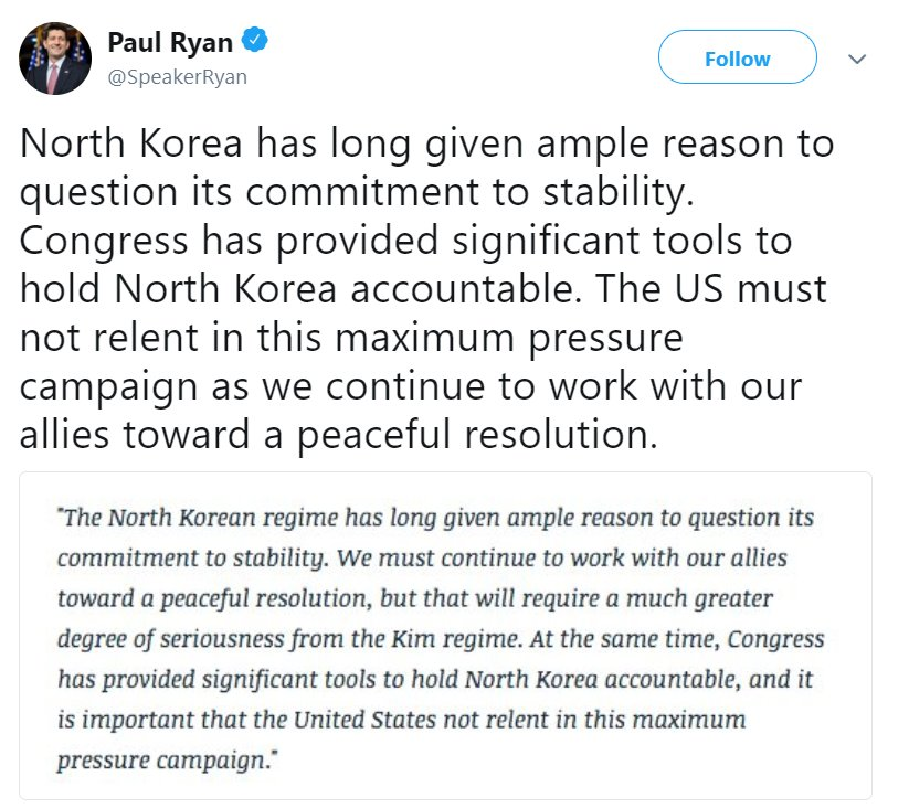.@SpeakerRyan tweeted regarding the @WhiteHouse's decision to cancel the North Korea summit.