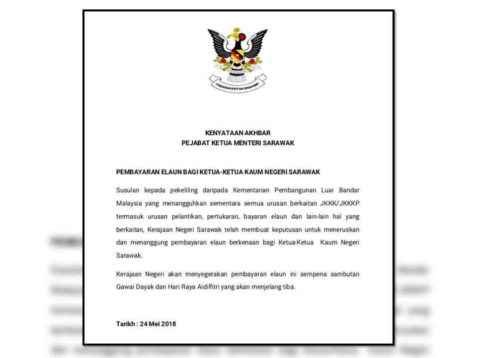 Buletin Tv3 On Twitter Kenyataan Media Jabatan Ketua Menteri Sarawak Berkenaan Pembayaran Elaun Bagi Ketua Ketua Kaum Negeri Sarawak