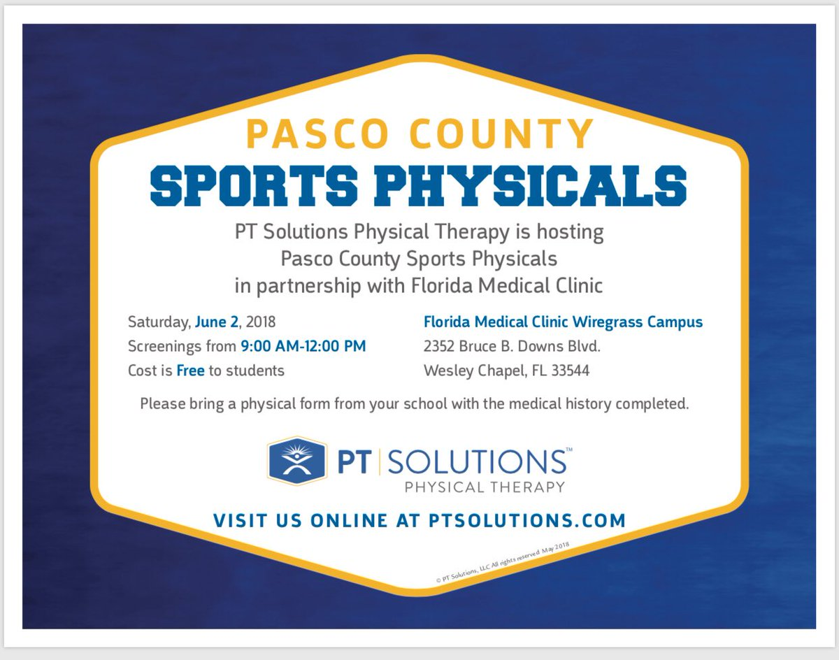 "sports physical form florida  Pasco County Sports on Twitter: ""Free Sports Physicals on ..."