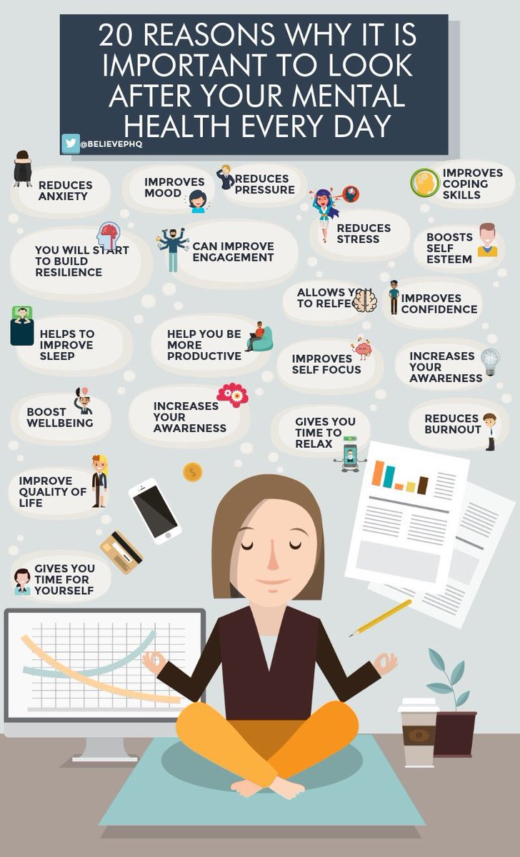 Please re-Tweet these 20 reasons why it is important to look after your #mentalhealth every day.  (image via @BelievePHQ) #Alzheimers #dementia #caregiving<br>http://pic.twitter.com/NOrLQ3UyVT