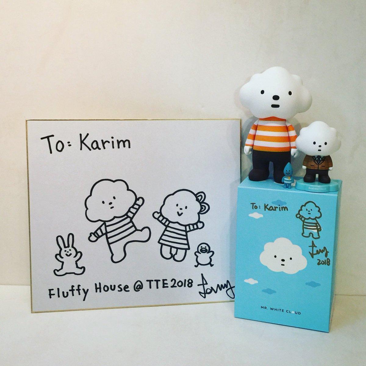 Thank you Lammy & Fluffy House☺️☁️☀️💧🐤🐰🐻  #fluffyhouse #fluffyhousehk #thankyoulammy #mrwhitecloud #littleraindrop #businesscloud #autograph #sketching #thailandtoyexpo #thailandtoyexpo2018 #tte #tte2018 #designertoy #softvinyltoy #arttoy @FluffyHouseCS https://t.co/1oWUIlzp3Q
