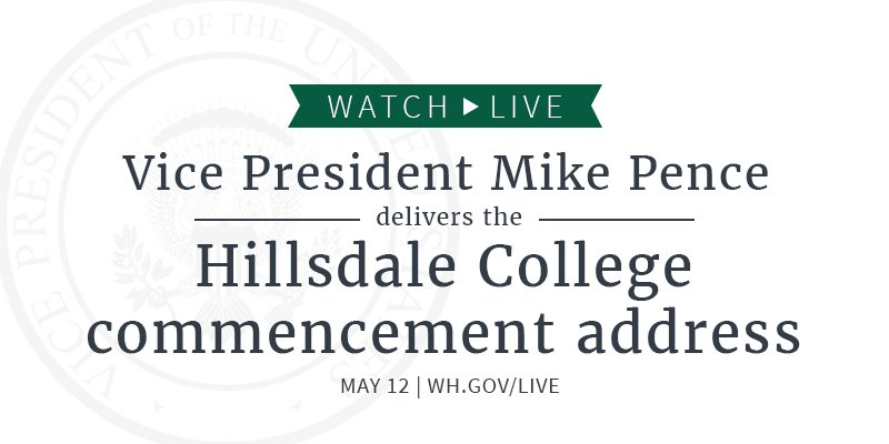 WATCH LIVE – delivering the commencement address at @Hillsdale College: whitehouse.gov/live/