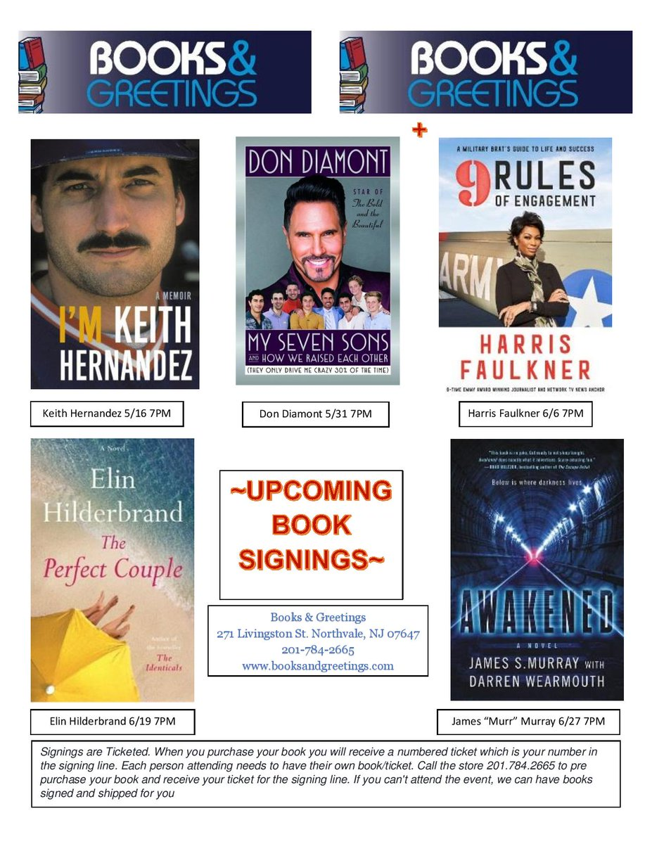 Books and greetings on twitter hey everybody heres a list of our heres a list of our upcoming book signings dont forget keithhernandez wednesday 516 then dondiamont 531 harrisfaulkner 66 elinhilderbrand 619 m4hsunfo